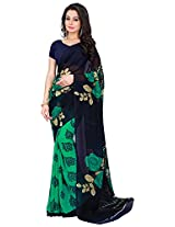 Silk Bazar Women's Faux Georgette Saree with Blouse Piece (Blue & Green)