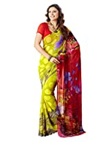 Vibes Women's Weighless butic Saree with Blouse (S22-1409B_Multi-Coloured)
