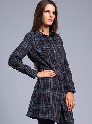 Cortefiel Camisa Cuadros (Marrón / Azul)