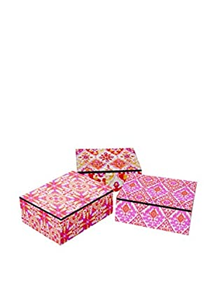 Three Hands Set of 3 Mirrored Wood Boxes, Pink Multi