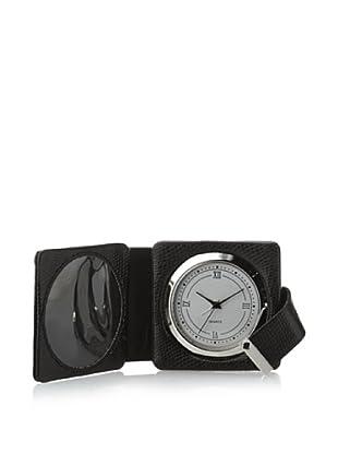 Wilouby Croc Embossed Leather Travel Alarm Clock (Black)