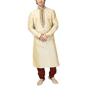 Fashion Curries Men's Poly Silk Plain Kurta Set (FC-47_Fawn_36)