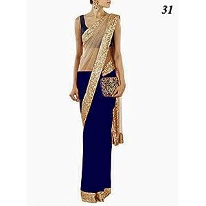Designer Stylish Beige Blue Net Chiffon Sari Saree Lehenga T60B