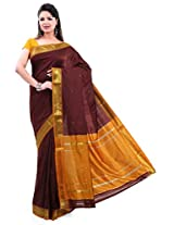 ISHIN Poly silk Paithani Brown Saree