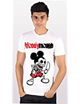 Enquotism White Combed Cotton Fabric Round Neck Men Tshirt-M Bloody Mouse White -M