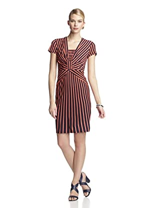 Taylor Women's Cap Sleeve Striped Dress (Navy/Coral)