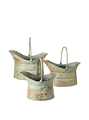 Set of 3 Multi Size Metal Planters With Handles