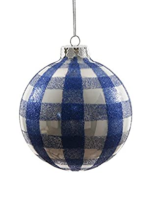 Winward Handcrafted Colonial Checkered Ornament, Blue/White