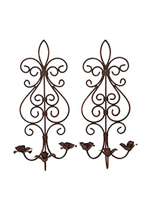 Uptown Down Previously Owned Set of 2 Wrought Iron Candle Sconces