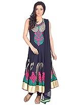 Myra Women's Georgette Semi-Stitched Salwar Suit (MY-001, 40 Inches, Black)