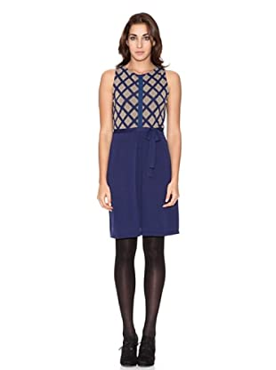SIYU Vestido Knit Rombos Combinado (Azul/Beige)