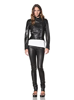 Ann Demeulemeester Women's Double-Breasted Leather Jacket (Black)