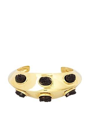 Kara Ross Double-Edged Oval Black Drusy Metal Cuff