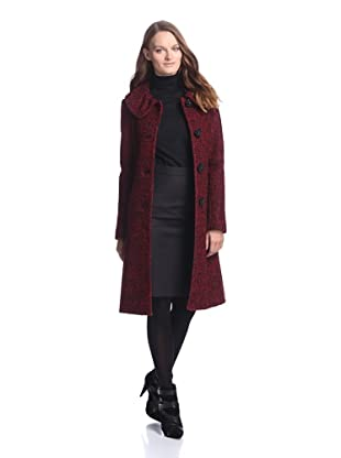 Ivanka Trump Women's Pleat Collar Coat (Red/black)