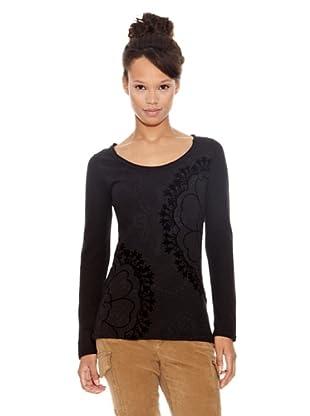 Desigual Camiseta Abrigate (Negro Estampado)
