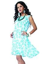 Garden Vareli Womens Georgette A-Line Dress (Gardenvareli Western Dress 1021-B _White _Large)