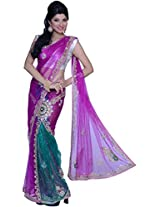 Purple and Persian Green Net Embroidered Party Lehenga Style Saree