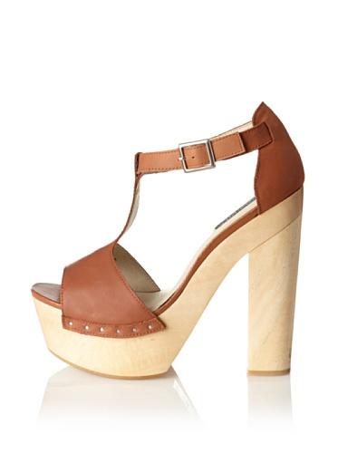 Messeca Women's Mila T-Strap Sandal (Cognac)