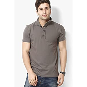 Grey Solid Polo T-shirts Gritstones
