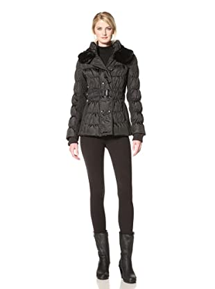 Via Spiga Women's Lia Belted Down Jacket with Slimming Detail (Black)
