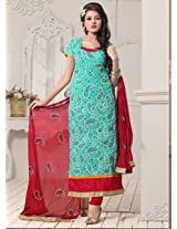 Saara Aqua Blue And Red Embroidered Dress Material - 142D3035