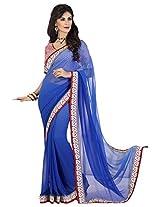 Sthri blue party wear or wear faux georgette saree (STHASKDS106 , Blue)