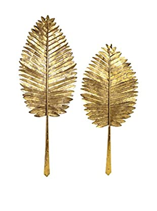 Set of 2 Milano Gold Leaf Wall Leaves