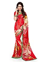Sourbh Sarees Red Printed Faux Georgette Best Sarees (with color options) for Women Party Wear,Women Clothing Collection, Diwali Durga Puja Gifts