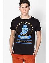 Black Printed Crew Neck T Shirt