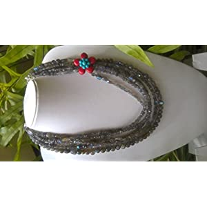 Dreamz Jewels Labradorite Necklace in Grey and Red