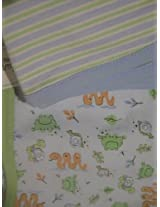 Baby Buns Set of Receiving Blankets Frogs, Snails and Stripes