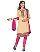 Manvaa Beige And Pink Embroidered Suit With Chanderi Cotton Fabric