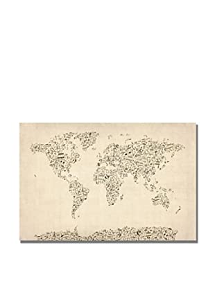 Michael Tompsett Music Note World Map Print on Canvas (Multi)