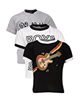 Goodway Junior Boys Stye-4- Black White Grey Combo Pack of 3 T-Shirts - 2-3 Years