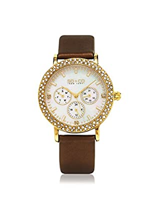 SO&CO Women's 5216L.3 Madison Brown/White Leather Watch