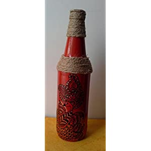 Artiliciously Your'S Mehendi1 Painting On Recycled Glass Bottle