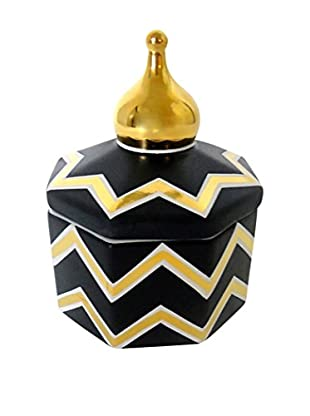 Waylande Gregory Chevron Small Octagon Box, Ink/Gold