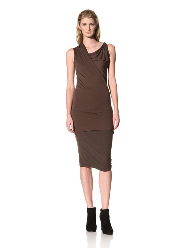 RICK OWENS Women's Twist Shoulder Sleeveless Top (Bitter)