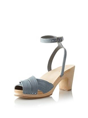 Swedish Hasbeens Women's Strappy Sandal (Blue Nubuck)