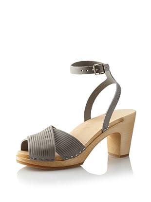 Swedish Hasbeens Women's Strappy Sandal (Grey Nubuck)