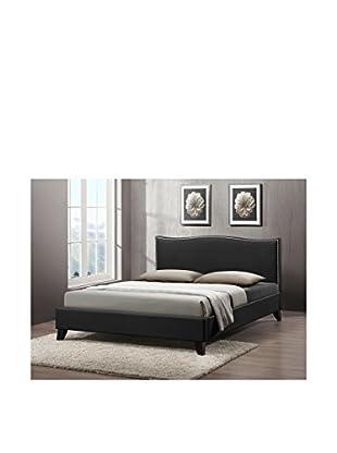 Baxton Studio Battersby Full Upholstered Bed, Black