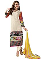 Vibes Womens Georgette Patch Work Straight Unstitched Dress Material (V199-7 _off-White)