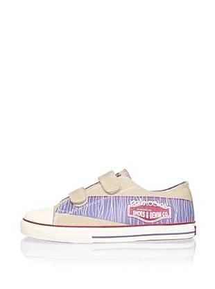 Pablosky Kid's Double-Strap Logo Sneaker (Beige)
