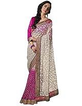 Manvaa white and pink saree -GC1911
