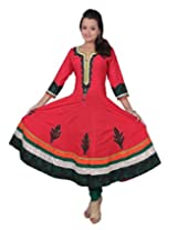 Chhipa Women 100% Cotton Simmer Red Anarkali(1008_Red_36)
