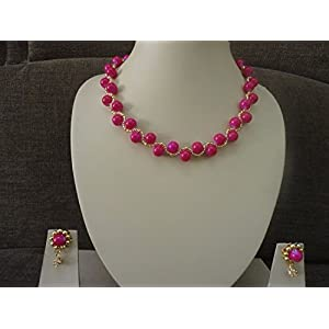 Mona Jewels Pink Beaded Spiral Necklace with Hanging Earrings