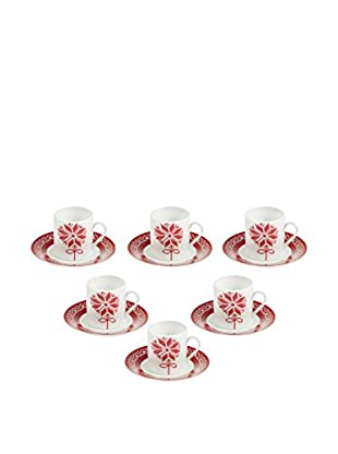 GALILEO Espressotasse mit Untertasse 6er Set rot/weiß