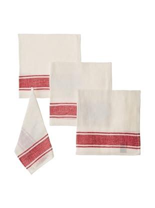 Found Object Calais Set of 4 Linen/Cotton Napkins, White/Red