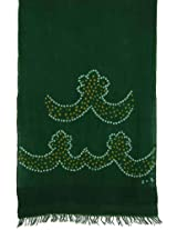 Green Wool Stole Handmade - Indian Accessory Scarf Tie Dye for Girls 24x70 Inch