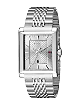 Gucci Mens YA138403 quotG-Timelessquot Rectangle Analog Display Swiss Quartz Silver Watch